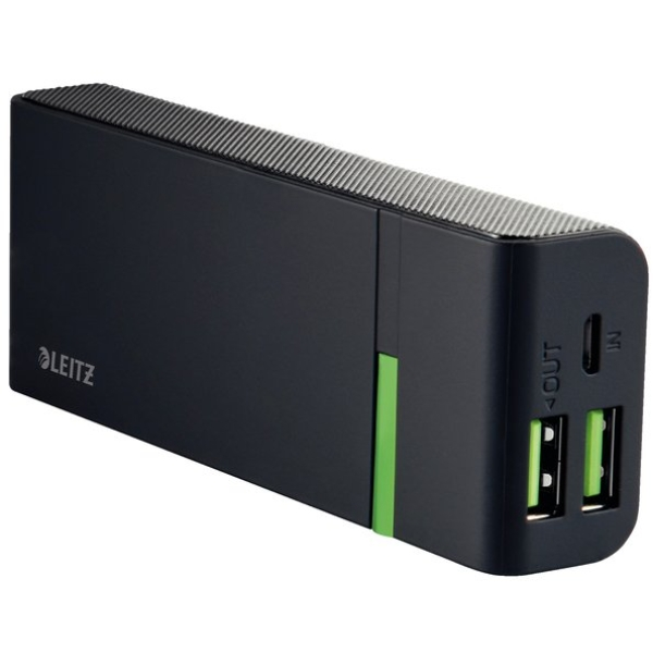 Caricatore HiSpeed Powerbank Leitz - 5200mAh - 1 x Micro USB (DC 5V, 2A) - Nero - 63120095