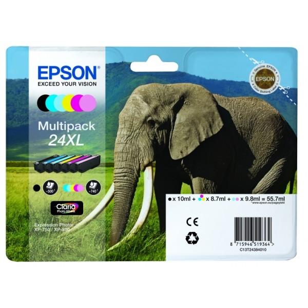 Cartuccia Epson 24XL/ELEFANTE (C13T24384010) 6 colori - B00236