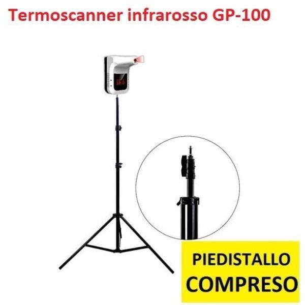Termoscanner infrarosso GP-100 contactless rapid test con piedistallo regolabile compreso - D03622