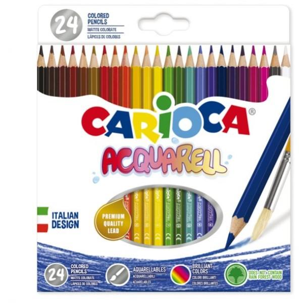 Astuccio 24 matite acquerellabili colori assortiti Carioca - Z13319