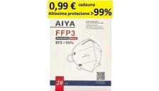 Mascherina FFP3 ad altissima protezione filtrante >99% modello KN95- certificata CE 1463 conf. 20 pz - D03556