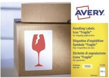"""Etichette in rotolo per spedizioni Avery - """"Fragile"""" - 74x100mm - 200 - 7251"""