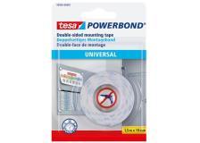 Biadesivo Universal Powerbond Tesa - blister - 1,5 mt x19 mm - bianco - 58565-00001-00