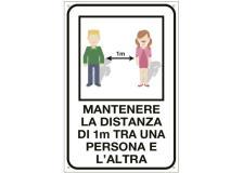 """Cartello alluminio 12x18cm """"MANTENERE LA DISTANZA DI 1 METRO"""" - D02429"""