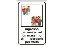 """Cartello alluminio 12x18cm""""INGRESSO PERMESSO AD UN MAX DI N. PERSONE"""" - D02433"""