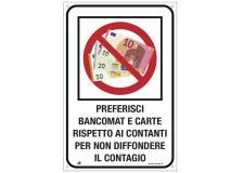 """Etichetta 20x30cm """"PREFERISCI BANCOMAT E CARTE"""" - D02437"""