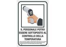 """Cartello alluminio 20X30cm """"CONTROLLO TEMPERATURA DEL PERSONALE"""" - D02442"""