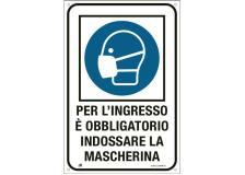 """Cartello alluminio 20x30cm """"OBBLIGO USO MASCHERINA"""" - D02448"""