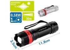 Torcia LED in plastica, con focus aggiustabile, batterie 3*AAA (non incluse) nero/rosso - 102700LWF - D02546