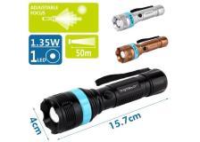 Torcia LED in plastica, con focus aggiustabile, batterie 3*AAA (non incluse) nero/blu - 102700LWE - D02547