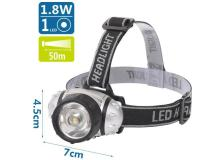 Lampada LED frontale argento, batterie 3*AAA (non incluse) - 102701LWL - D02548