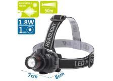 Lampada LED frontale nera, focus regolabile, batterie 3*AAA (non incluse) - 102701LWQ - D02549