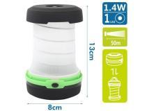 Lanterna LED con gancio, verde, batterie 3*AAA (non incluse) - 102703LWU - D02552