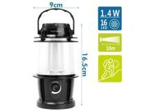 Lanterna LED nera 16led con gancio, con oscuramento a rotazione, batterie 3*AAA (non incluse) - 102703LWT - D02553