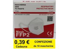 Mascherina FFP2 dispositivo DPI certificata CE 2163 conf. 10 pz - D03548