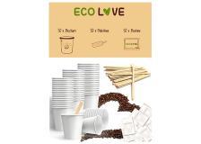 Kit Compostabile 50 Bicchierini Palette e Zucchero ECO LOVE - D07058