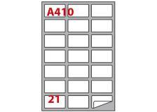 Etichetta adesiva a/410 bianca 100fg A4 63,5x38,1mm (21eti/fg) markin - Z00812