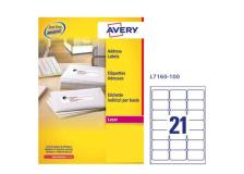 Etichetta adesiva l7160 bianca 100fg A4 63,5x38,1mm (21et/fg) avery - Z01717