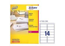 Etichetta adesiva l7163 bianca 100fg A4 99,1x38,1mm (14et/fg) avery - Z01720