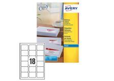 Etichetta adesiva j8161 bianca 25fg A4 63,5x46,6 (18et/fg) inkjet avery - Z01729