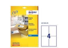 Etichetta adesiva j8169 bianca 25fg A4 99,1x139mm (4et/fg) inkjet avery - Z01736