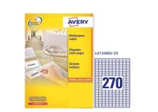 Etichetta adesiva l4730rev bianca rimovibili 25fg A4 17,8x10mm (270et/fg) avery - Z01748