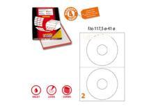 Etichetta adesiva a/462 bianca 100fg x cd ø117,5mm foro41 (2et/fg) coprente - Z02443