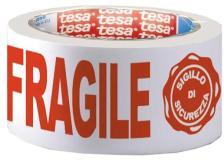 Nastro adesivo ppl 66mtx50mm fragile con sigillo sicurezza 7024 tesa - Z02823
