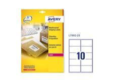 Poliestere adesivo l7992 bianco imperm 25fg A4 99,1x57mm (10et/fg) laser avery - Z03581