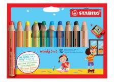 Astuccio 10 pastelli stabilo woody 3in1 + temperino - Z05080