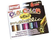 Tempera solida playcolor 6 colori metal in stick da 10gr - Z05290
