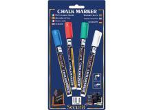 Blister 4 marcatori a gesso liquido (bianco-verde-rosso-blu) 1-2mm fine securit - Z05451
