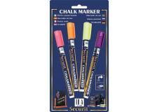 Blister 4 marcatori a gesso liquido (arancio-rosa-viola-gia) 1-2mm fine securit - Z05452