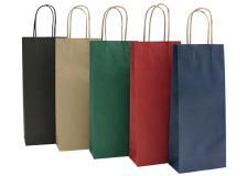 20 shoppers carta biokraft 14x9x38cm portabottiglie blu - Z05475
