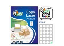 Etichetta adesiva LP4W bianca 100fg A4 tonda Ø40mm (24et/fg) Laser Tico - Z05906