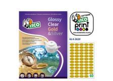 Etichetta adesiva GL4 ovale oro satinata 100fg A4 36x20mm (60et/fg) Tico - Z05913