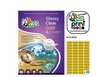 Etichetta adesiva GL4 ovale oro satinata 100fg A4 45x21mm (48et/fg) Tico - Z05914