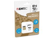 Micro sdxc emtec 64gb class 10 gold + con adattatore - Z06350