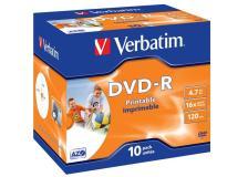 Scatola 10 dvd-r j.case 16x 4.7gb 120min. wide photo stamp ink-jet - Z09418