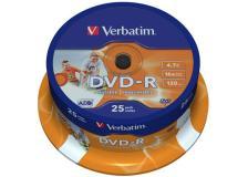Scatola 25 dvd-r spindle 16x 4.7gb 120min. stampabile wide photo inkjet - Z09419