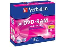 Scatola 5 dvd-ram 43450 4.7gb3x 4,7 bare disc serigrafata jewel case - Z09433