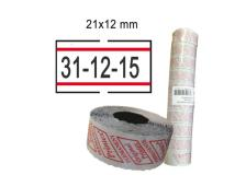 Pack 10 rotoli 1000 etich. 21x12mm bianco perm. con righe rosse printex - Z10970