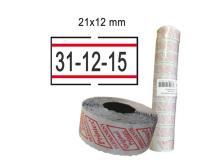 Pack 10 rotoli 1000 etich. 21x12mm bianco remov. con righe rosse printex - Z10971
