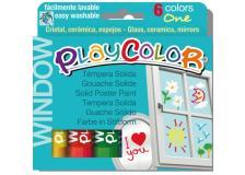 Tempera solida per vetri playcolor 6 colori brillanti in stick - Z12013