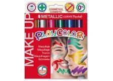 Make up tempera solida playcolor astuccio con 6 colori metallic - Z12071