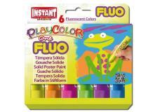 Tempera solida playcolor 6 colori fluo in stick da 10gr - Z12094