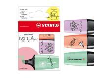 Astuccio 3 Evidenziatori STABILO BOSS Mini Pastellove verde/glicine/rosa - Z13679