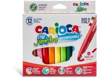 Scatola 12 pennarelli jumbo lavabili colori assortiti carioca - Z15197
