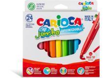 Scatola 24 pennarelli jumbo lavabili colori assortiti carioca - Z15198