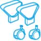 Braccioli, ruote, piedini e accessori per sedie